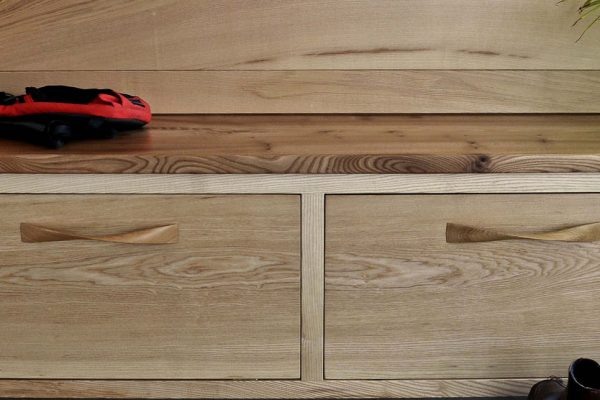 A bespoke hardwood hallway storage unit made from Ash in Cumbria by HOUT Design