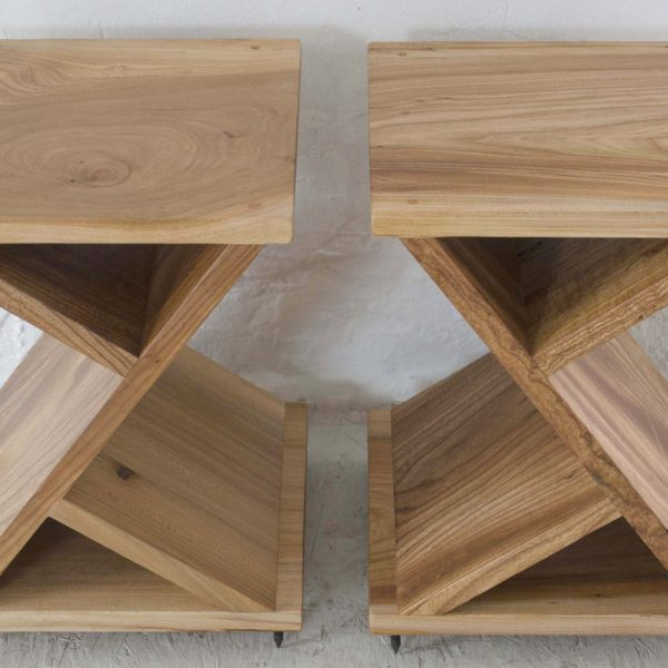 Speaker stands handmade from Elm in Cumbria by HOUT Design