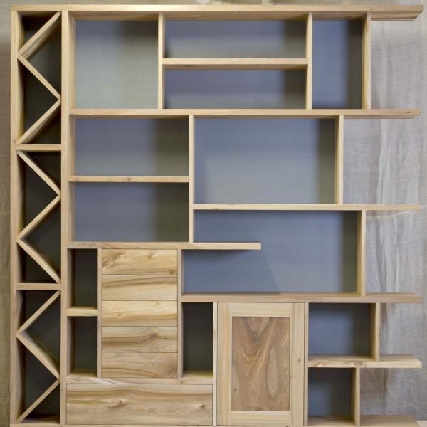 A bespoke wall unit made from Elm in Cumbria by HOUT Design