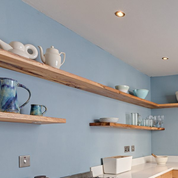 Bespoke Kitchen Shelving made from Elm in Cumbria by HOUT Design