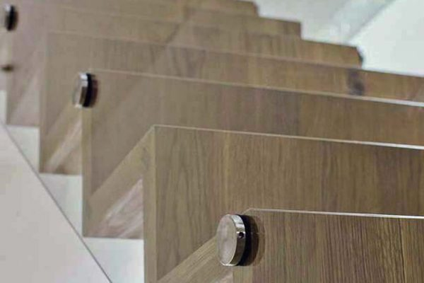 A Glass Supported Oak Staircase made in Cumbria by HOUT Design