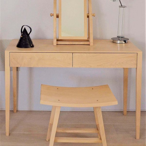 A dressing table stool and mirror set made in Sycamore by HOUT Design in Cumbria