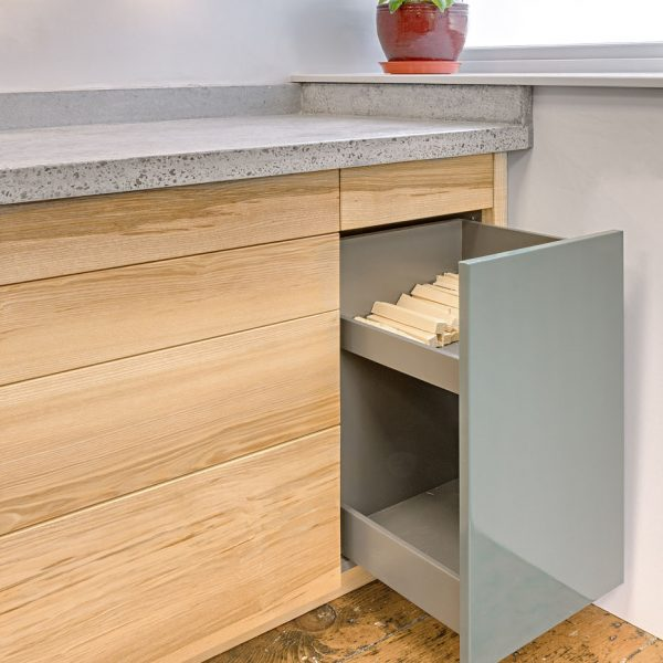 Bespoke hardwood kitchen units made from Ash in Cumbria by HOUT Design