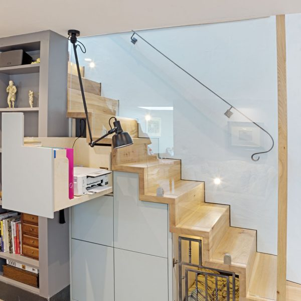An under stairs home office made in Elm and Beech Ply by HOUT Design in Cumbria