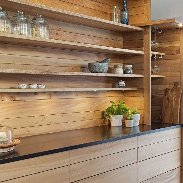 A contemporary handmade hardwood kitchen made from Elm in Cumbria by HOUT Design