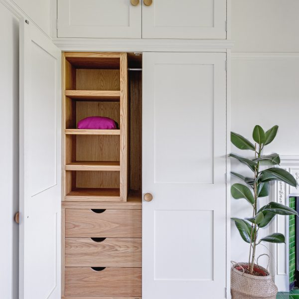 A fitted wardrobe made from Ash in Cumbria by HOUT Design