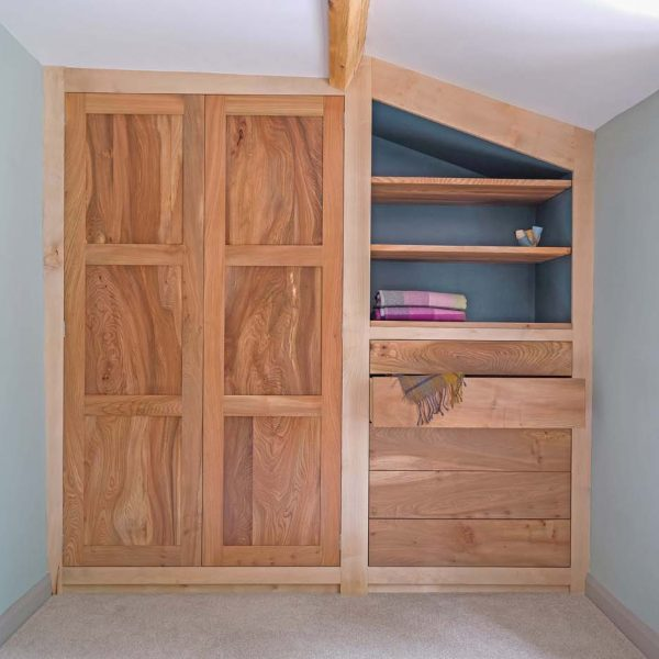 An Elm and Sycamore Wardrobe made in Cumbria by HOUT Design