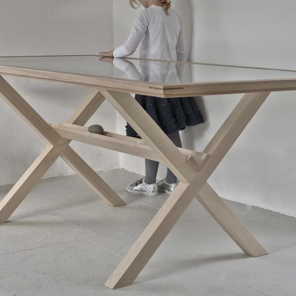 A handmade Oak and glass dining table made in Cumbria by HOUT Design