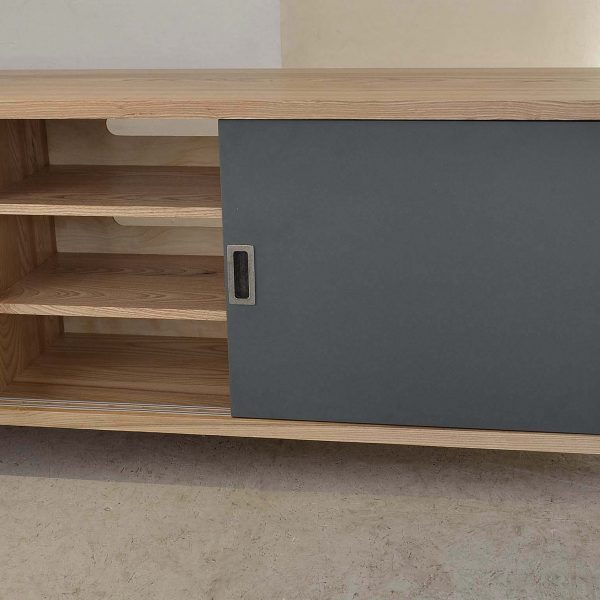 An Olive Ash Media Cabinet made in Cumbria by HOUT Design